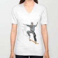 skateboard V-neck T-shirts featuring Skateboard 2 by Aquamarine Studio