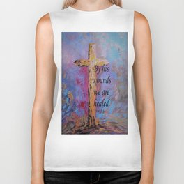By His Wounds We Are Healed Biker Tank