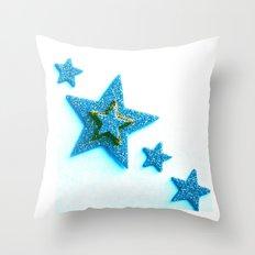 Glittery Blue Throw Pillow