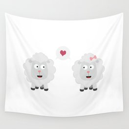 Sheeps in love with heart B7b4v Wall Tapestry