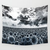 sunflowers Wall Tapestries featuring sunflowers by Bekim ART