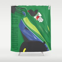 f1 Shower Curtains featuring MINIMAL F1 COLLECTION - JORDAN 191 by Daniele Sanfilippo