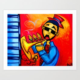 Musician against red background with blue piano keys Art Print