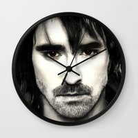 lee pace Wall Clocks featuring Pace Lee in watercolors by Fatima Alshaali