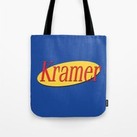 seinfeld Tote Bags featuring Kramer  - Seinfeld by Uhm.