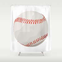 baseball Shower Curtains featuring Baseball by JoAnnFineArt