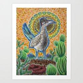 Attention (Roadrunner & Rattlesnake) Art Print