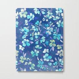 Grown Up Betty - blue watercolor floral Metal Print