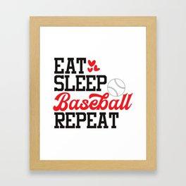 Eat Sleep Baseball Repeat Framed Art Print