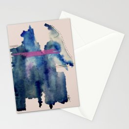 Pour: a blue and purple abstract watercolor Stationery Cards
