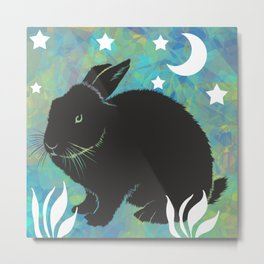 The Black Bunny Metal Print