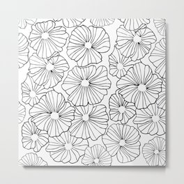Original design with flowers made only with contour. Perfect for gifts, bags, clothes Metal Print