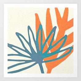 Mid Century Nature Print / Teal and Orange Art Print