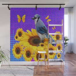 BLUE JAY YELLOW BUTTERFLIES SUNFLOWER ART Wall Mural