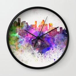 Houston skyline in watercolor background Wall Clock
