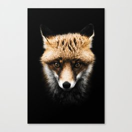 Dark Fox Head Colorized Canvas Print