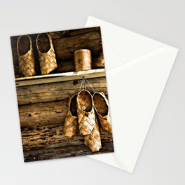 Medieval Bast Shoes On The Wooden Wall Stationery Cards