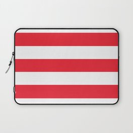Sprint Red -  solid color - white stripes pattern Laptop Sleeve