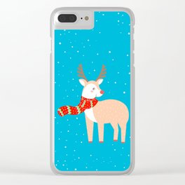 Christmas Deer Clear iPhone Case