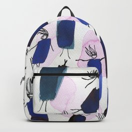 Free falling of the girls in the bright blue garments Backpack