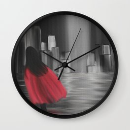 Girl With A Red Cape Wall Clock