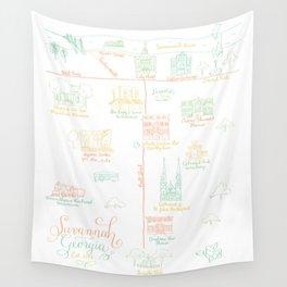 Savannah, Georgia Illustrated Calligraphy Map Wall Tapestry