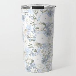 Light Blue Floral Pattern Travel Mug