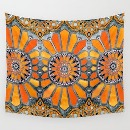 Celebrating the 70's - tangerine orange watercolor on grey Wall Tapestry
