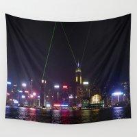hong kong Wall Tapestries featuring Hong Kong Laser Show by Lynn Bolt