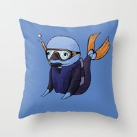 scuba Throw Pillows featuring Scuba Whale by CoolBreezDesigns