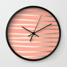 Simply Drawn Stripes in White Gold Sands and Salmon Pink Wall Clock