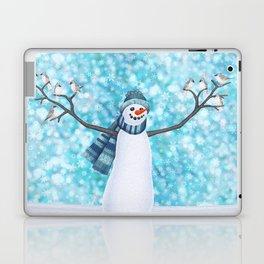 snowman and tufted titmouse flock Laptop & iPad Skin