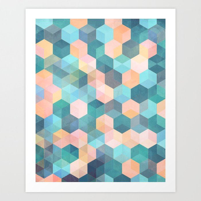 child 39 s play 2 hexagon pattern in soft blue pink peach aqua art print by micklyn society6. Black Bedroom Furniture Sets. Home Design Ideas