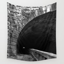 Paw Paw Grunge Tunnel - Black & White Wall Tapestry