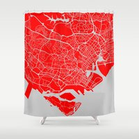 singapore Shower Curtains featuring SINGAPORE CITY MAP by jonthearchitect
