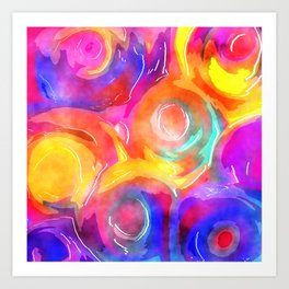 Swirly Watercolor Wash Art Print