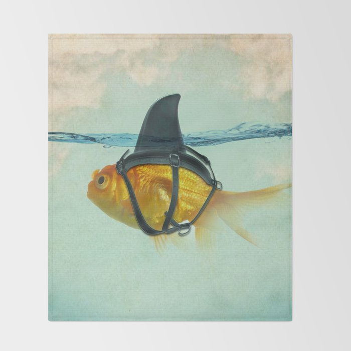 Brilliant DISGUISE - Goldfish with a Shark Fin Throw Blanket