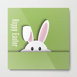 Easter background with cute bunny Metal Print