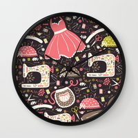 sewing Wall Clocks featuring Vintage Sewing by Poppy & Red