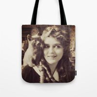 thundercats Tote Bags featuring Mary Pickford - Vintage Lady with kitten by Augustinet