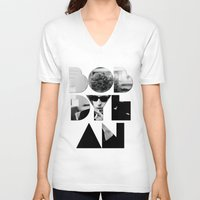 woodstock V-neck T-shirts featuring Bob Dylan Font Sunglasses by Fligo