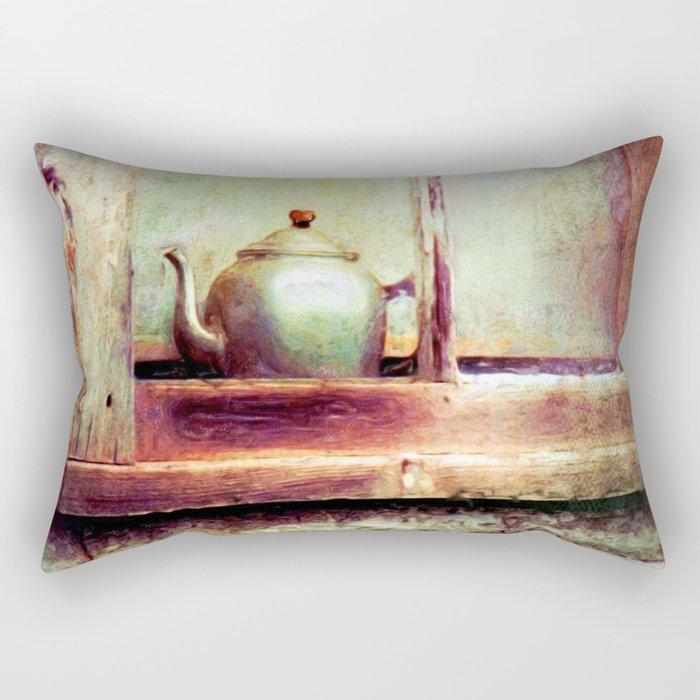 Vintage Teapot Rectangular Pillow