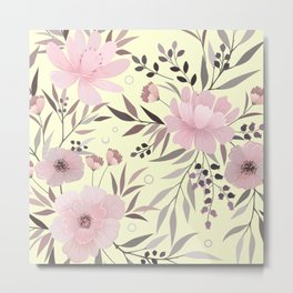 Modern, Floral Prints, Pink and Yellow, Art for Walls Metal Print