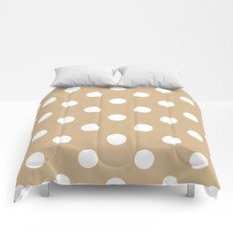 Polka Dots - White on Tan Brown Comforters