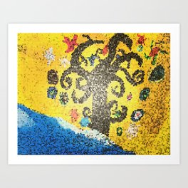 Tree of Life canvas acrylic turned mosiac Art Print