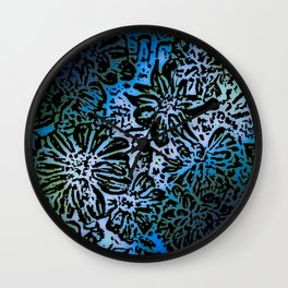 Marigold Lino Cut, Marine Diagonal Gradient Wall Clock