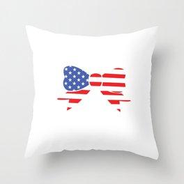 America Bow Graphic Patriotic 'Merica T-shirt Throw Pillow