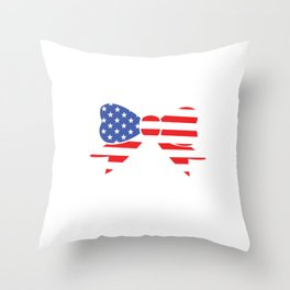 America Bow Graphic Patriotic 'Merica T-shirt Throw Pillow