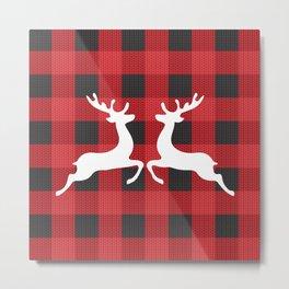 Reindeer's With Cute Red & Black Buffalo Check Christmas/ Buffalo Plaid Metal Print