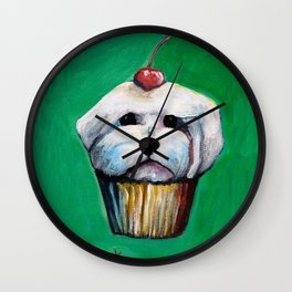"""Cherry on Pup"" Maltese Cake Wall Clock"